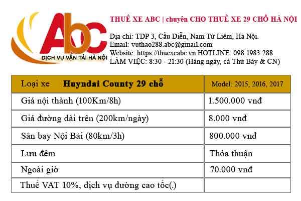 Báo giá thuê xe Hyundai County 29 chỗ tại Hà Nội