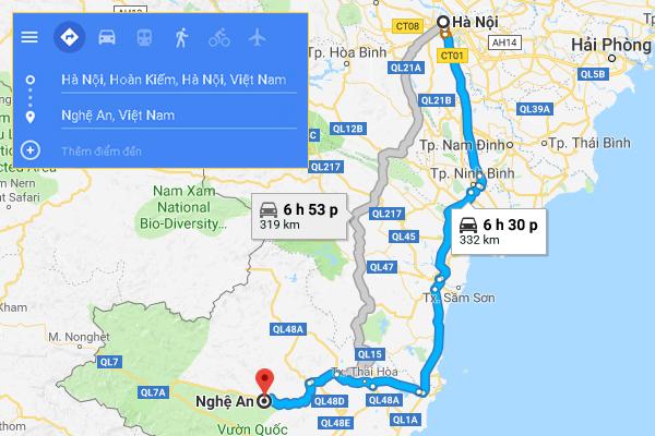 Cung đường di chuyển từ Hà Nội đến Nghệ An