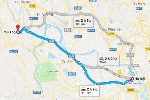 Bản đồ di chuyển từ Hà Nội đến Phú Thọ