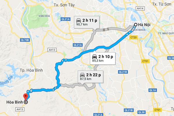 Cung đường di chuyển từ Hà Nội đến Hòa Bình theo Google map