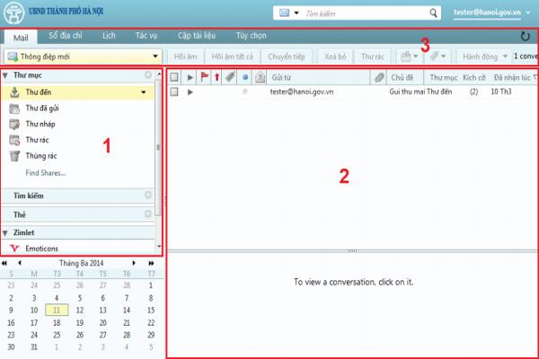 Giao diện làm việc của webmail