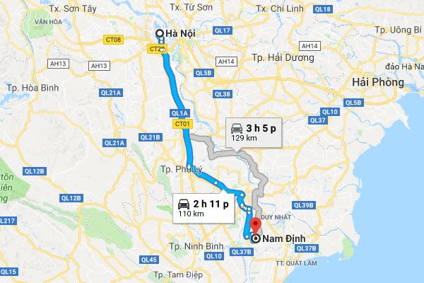 Bản Đồ di chuyển từ Hà Nội đi Nam Định