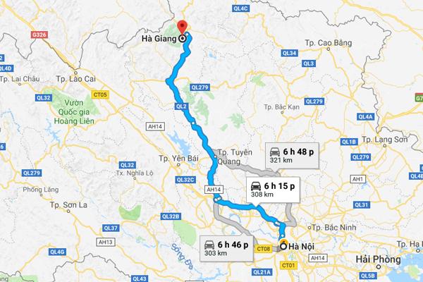 Cách di chuyển từ Hà Nội đi Hà Giang(Google Maps)
