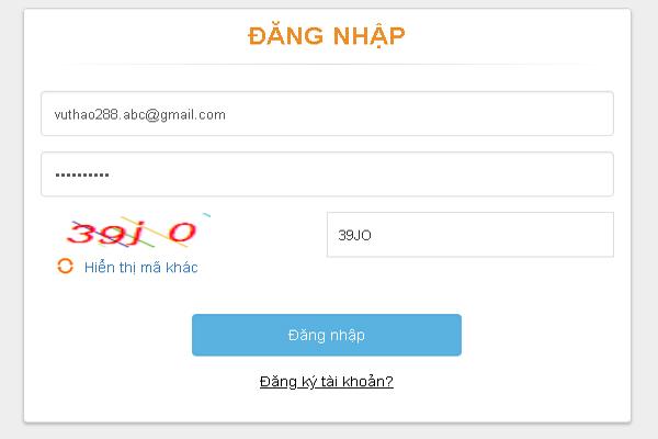Đăng nhập bằng email đã đăng ký với mật khẩu nhận được