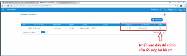 Danh sách hồ sơ để xem lý do từ chối và chỉnh sửa hồ sơ rồi gửi lại