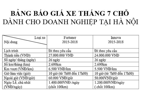 Bảng báo giá xe tháng 7 chỗ dành cho các doanh ngiệp tại Hà Nội