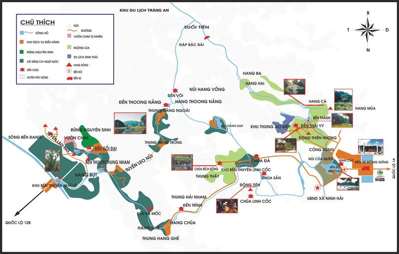 Bản đồ những điểm du lịch ở Ninh Bình