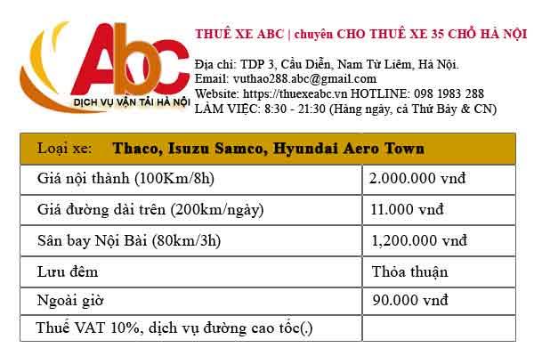 Bảng giá thuê xe 35 chỗ tại Hà Nội