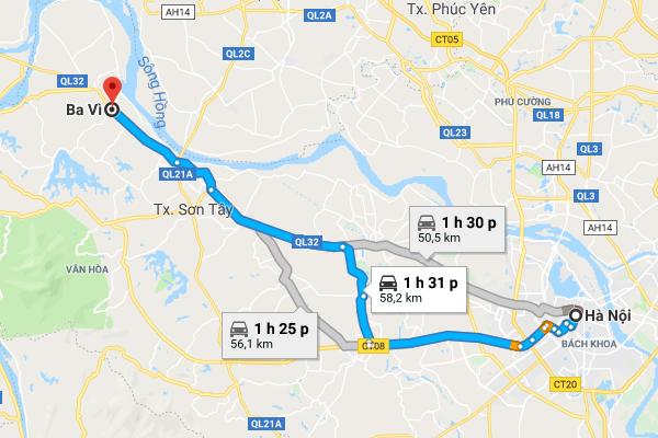 Bản đồ di chuyển từ Hà Nội đến Ba Vì