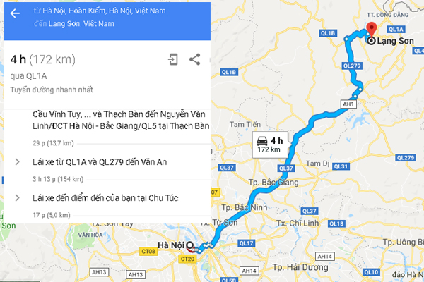 Bản đồ di chuyển từ Hà Nội đi Lạng Sơn