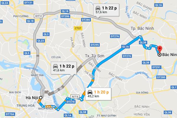 Cách di chuyển từ Hà Nội đến Bắc Ninh