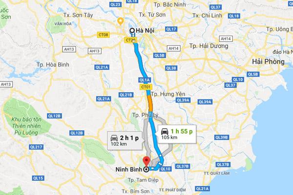 Thời gian di chuyển từ Hà Nội đến Ninh Bình khoảng 2 tiếng đồng hồ