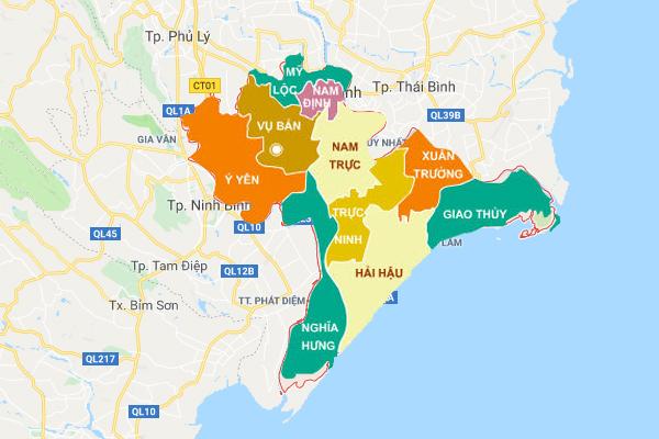 Bản đồ các tỉnh Nam Định